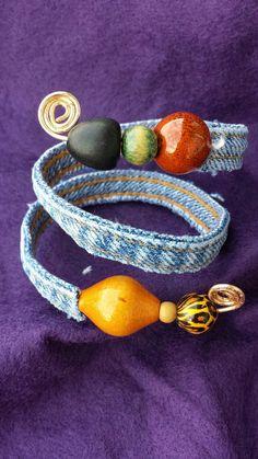 Recycled Denim Bracelet Etsy listing at https://www.etsy.com/listing/168634307/one-of-a-kind-recycled-denim-beaded