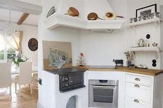 Whereas, in the Scandinavian country style kitchen design, old wood stove gives a strong rustic character which is supported by hood design and distinctive wood shelving ideas. Description from homedecornow.net. I searched for this on bing.com/images