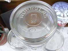 *4 vintage Einkochgläser*  Fa. Ruhrglas, Weck, und andere. Lieferung je nach Verfügbarkeit. 1 Lieter, ca. 11 x 15 cm, leer, mit Deckel.   Frau kann eine wunderschöne shabby chic Deko selbst...