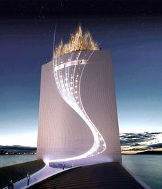 This is the host building that is being built for the 2016 Olympic games in Rio.  It has solar panels on top and water from the ocean will be pumped to the top and dropped down to create energy during the night!