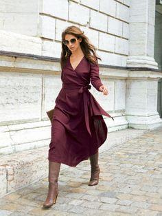 10 Modern Sewing Patterns that Flatter Women WOMEN – Burda Style Wrap Dress with Sash Diy Fashion, Ideias Fashion, Autumn Fashion, Office Fashion, Dress Fashion, Fashion Clothes, Street Fashion, Rock Fashion, Fashion Sewing