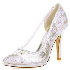 Elobaby Frauen Hochzeit Schuhe Lace Brautjungfer Geschlossen Zehe Braut  Plattform High Heels Größe 10 Ferse, Ivory 43c99fee95