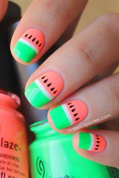 Nail Escapades: Polishers Inc. - Neon'tastic // Watermelon Nail Art