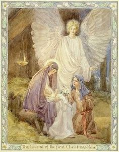 'The Legend of the first Christmas Rose' - Madonna & Child, girl with flowers, and Angel. The legend of the first Christmas rose. Christmas card