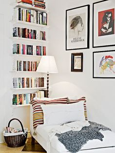 ikea chaise and shelves for small reading nook