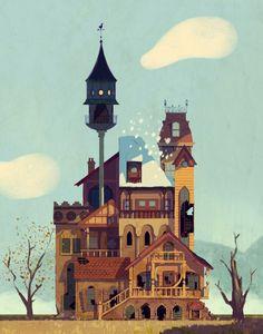 Illustration by Garrett Lee / 7129 Building Illustration, House Illustration, Illustrations Posters, Concept Art Landscape, Art Steampunk, Bg Design, Art Disney, Modelos 3d, Cartoon Background