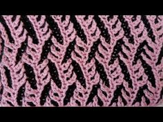 """Two-color brioche pattern """"Branches"""" + free chart - YouTube"""