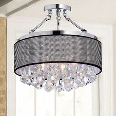 Yessica Rhinestone Black Shade Semi Flush Mount Crystal Chandelier