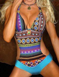 e4d62489e58 2018 Hot Sale Swimwear Women Vintage Retro One Piece Swimsuit Womens Sexy  Ethnic Tribal Geometric Monokini Swimwear Bathing Suit