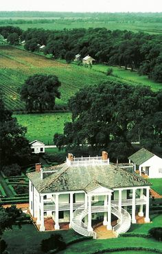 Evergreen Plantation. Parish of St. John the Baptist, Louisiana, 1832.   National Geographic, July 1984.