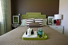 Guest Bedroom. Color Scheme Green and Brown