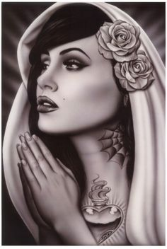 mexican culture--Tattooed Mary by Spider (Artist)