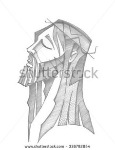 Hand drawn vector illustration or drawing of Jesus Christ face at his Passion