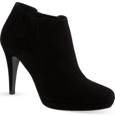 KAREN MILLEN Heeled suede shoe boots ($135) ❤ liked on Polyvore featuring shoes, boots, ankle booties, heels, sapatos, ankle boots, black, black suede booties, black suede bootie and high heel stilettos