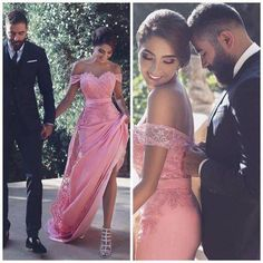 Off the shoulder peach pink prom dress