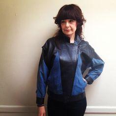 vintage-De-Zen-Cuirs-Paris-new-wave-80s-blue-black-leather-jacket-designer-S-M