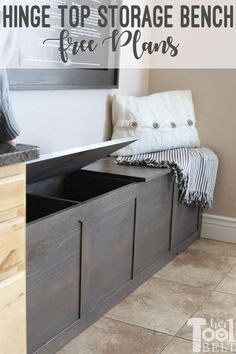 Backpack Storage Bench Plans No mudroom, no problem! Build a cute backpack storage bench with a hinging top that will store all of those backpacks and school supplies. Diy Storage Bench Plans, Storage Bench Seating, Entryway Bench Storage, Diy Kitchen Storage, Bedroom Storage, Furniture Storage, Bench Mudroom, Diy Bedroom, Shoe Storage