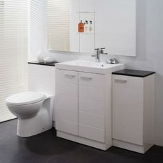 This combination unit includes the Vail 600 Basin Unit with white basin WC Unit with WC pan and concealed cistern and 325 Storage Unit. Various toilet options available. Toilet Vanity Unit, Basin Vanity Unit, Toilet Sink, Bathroom Vanity Units, Bathroom Cabinets, Bathroom Furniture, Small Bathroom, Basin Unit, Toilet Bowl