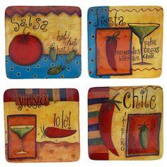 Certified International Salsa 8.5'' 4 Piece Dessert Plate Set