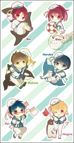 Free! ~~ Chibis that make me realize that Gou needs a totem animal, too. I've given Seijuro a Red Snapper. I'll have to think what cute sea creature suits Gou....