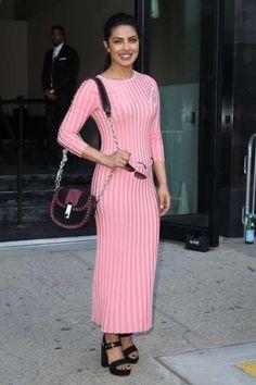 25 times Priyanka Chopra stunned us in 2016:       In a bubblegum pink rib‐knit dress by Altuzarra during the New York Fashion Week 2016 in New York City on Sept. 11.