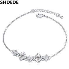 SHDEDE Austrian Crystal Chain Bracelets For Women Fashion Jewelry Rhinestone Bijoux Female Birthday Gift 19902 #Affiliate