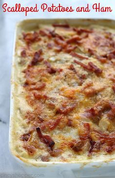 Scalloped Potatoes and Ham - a perfect casserole dish to serve up as a meal or side dish. You will find them loaded with lots of cream, cheese, and flavor. Great use of leftover holiday ham. Charcuterie, Pie Recipes, Cooking Recipes, Potato Recipes, Cooking Ideas, Yummy Recipes, Dinner Recipes, Scalloped Potatoes And Ham, Side Dishes