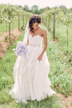 Soft lilac bouquet and a sweetheart neckline wedding dress: http://www.stylemepretty.com/2014/08/25/rustic-elegance-wedding-inspiration/ | Photography: Bradley & James - http://www.bradleyjamesphotography.com/