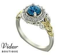 Flower Engagement Ring Unique Engagement Ring Two Tone White Yellow Gold Blue Diamond 0.5 Carat Ring By Vidar Botique Vintage Leaves Ring by VidarBoutique on Etsy