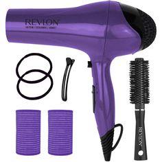 Purple Revlon 1875 Watt Ionic Heat Hair Dryer Ceramic Blow Dryer 7 Pc Hair Set #Revlon