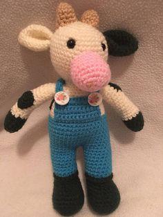 Amigurumi Crochet cow CE tested Crochet Cow, Hello Kitty, Dinosaur Stuffed Animal, Toys, Unique Jewelry, Handmade Gifts, Baby, Character, Animals