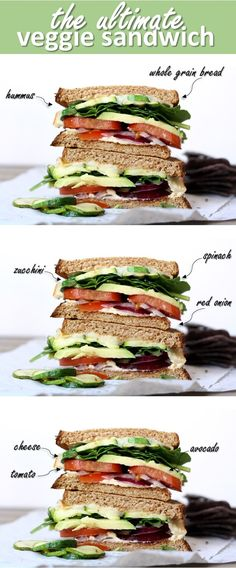 Veggie Lovin' Sandwich Stack, so yummy!!!!! via Cait's Plate #healthy
