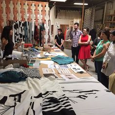 Studio visit from mills group with @ssyjuco @workshopresidence ----now is a particularly good time to stop in and see process materials behind the production of her #dazzle print shift dresses and hoodies.