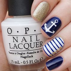 Navy Blue and Gold Nautical Nails With Anchor ⚓️