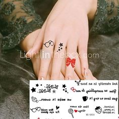Tatuajes Adhesivos - Non Toxic/Parte Lumbar/Waterproof - Otros - Niños/Mujer/Hombre/Adulto/Juventud - Rojo/Negro - Papel - 1 -Every small size:2.4cm - USD $ 1.99
