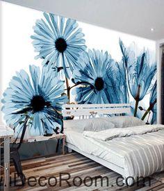 Transparent Blue Daisy flower 000015 Wallpaper Wall Decals Wall Art Print Mural Home Decor Gift Office Business