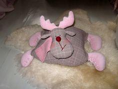 Pink Christmas Moose pillow Christmas Pillow, Stuffed animal moose, Christmas decoration, Deer pillow kids toys, Christmas gift, New year
