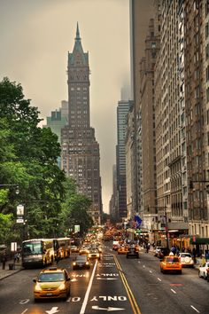 NYC. The view looking east on Central Park South