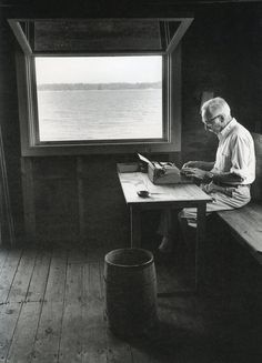 """E. B. White at work in his writing shed where he said he was a  """" wilder"""" ad """"healthier man.""""  --  Photo by Jill Kremenz"""