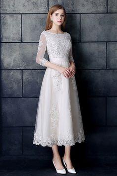 Modest Tea Length A Line Corset 3 4 Sleeve Beaded Lace Wedding Dress Tea  Length Wedding 6261ea5a10c6