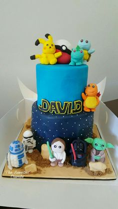 Pokémon & Star wars cake Pokemon Star Wars, Star Wars Cake, Birthday Cake, Favorite Recipes, Cakes, Desserts, Tailgate Desserts, Birthday Cakes, Cake