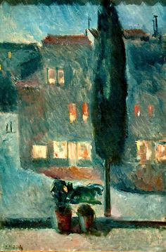 ۩۩ Painting the Town ۩۩ city, town, village & house art - Edvard Munch | Cypress in Moonlight