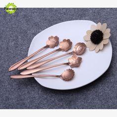 8Pcs/set Stainless Steel Flower Shape Teaspoon Sliver Gold Tableware Sugar Coffee Ice Cream Dessert Spoon Flatware Kitchen Tool #Affiliate