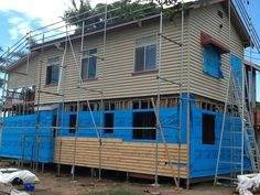 The house is wrapped in insulation and the exterior pine cladding is started. House Lift, Queenslander, Home Ownership, Cladding, Insulation, Pine, Exterior, Outdoor Decor, Home Decor