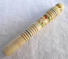 Antique Regency Painted Carved Bone Bovine Sewing Needle Bodkin Case C1820 | eBay