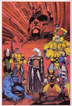 X-Men by Jim Lee. Magnito Jubilee Psylocke Wolverine Storm Beast Rogue Forge and Strong Guy. Yeh I still remember my Marvel characters 😎 Comic Book Artists, Comic Book Characters, Comic Book Heroes, Marvel Characters, Comic Artist, Comic Character, Comic Books Art, Ms Marvel, Marvel Comics