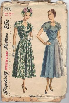 "Simplicity 2493 Women's One-Piece Dress I, Plus Size bust 39"" vintage | PenelopeRose - Craft Supplies on ArtFire $26"
