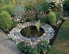 stones in garden focal point