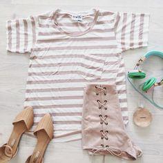 Fawn Stripe Tee #saboskirt http://saboskirt.com/shop/product/fawn-stripe-tee