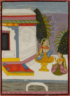 A lady on a ornamented stool with a female companion. Ragamala, Opaque pigments on paper, possibly Bundi, North India, second half 18th century